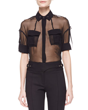Cropped Leather Motorcycle Jacket, Sheer Silk Utility Shirt & Bi-Stretch ...