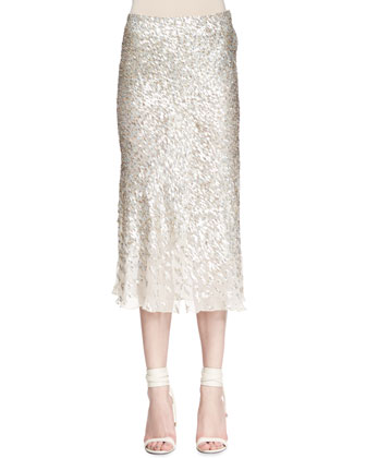 Sequined Bias-Cut Midi Skirt, Beige