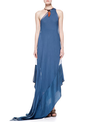 Double Layer One-Shoulder Gown, Indigo