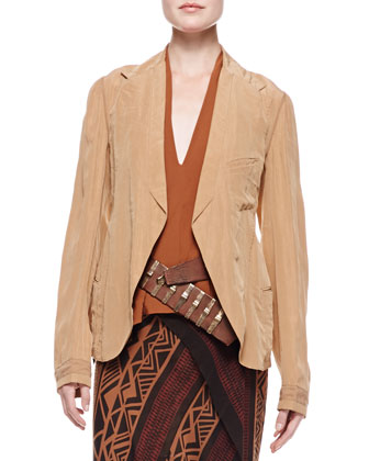 Trompe l'Oeil Jacket, Sleeveless Draped Blouse, Printed Scarf Skirt & ...