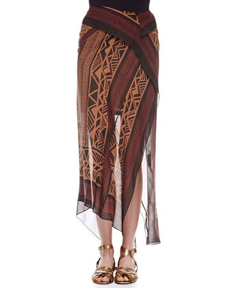 Mid-Calf Printed Scarf Skirt, Patchouli