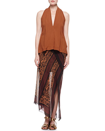 Sleeveless V-Neck Draped Blouse, Patchouli