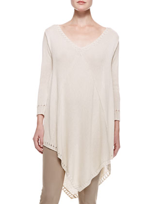 3/4-Sleeve Draped Poncho Top & Straight Leg Body II Pants