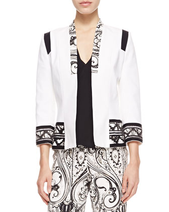 Print-Trimmed Stretch Cotton Jacket, Faux-Wrap Silk Blouse & Paisley-Print ...