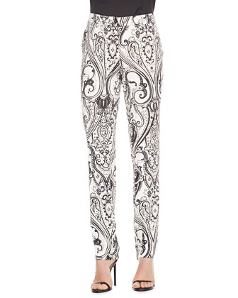 Paisley-Print Cady Pants, Black/White