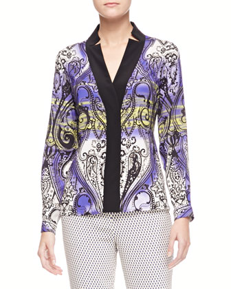 Printed Charmeuse Long-Sleeve Shirt