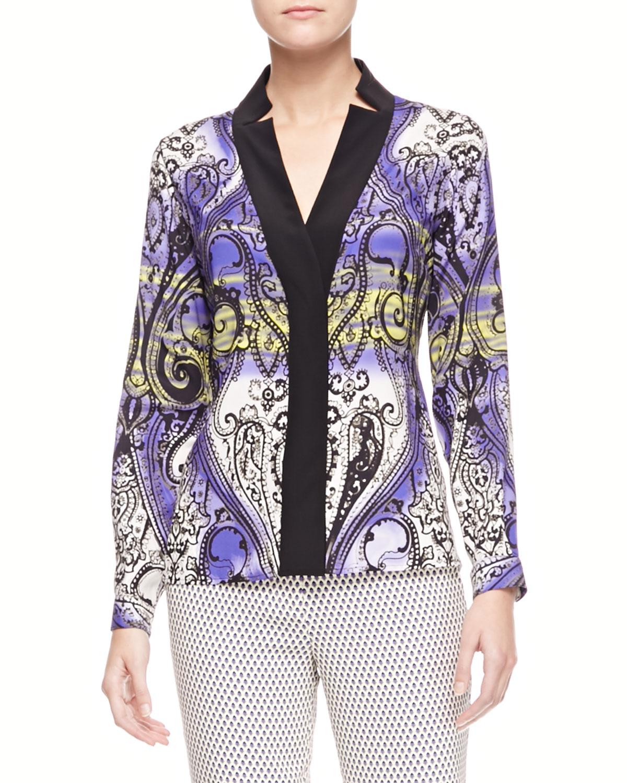 Womens Printed Charmeuse Long Sleeve Shirt   Etro   Purple (42/8)