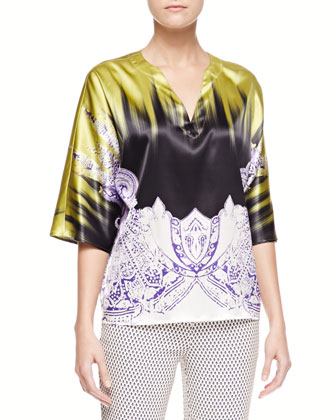 Brushstroke/Paisley Charmeuse Tunic, Green/Purple