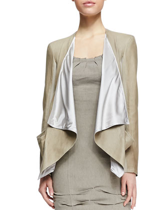 Draped Lambskin Leather Jacket & Cap-Sleeve Linen-Blend Dress