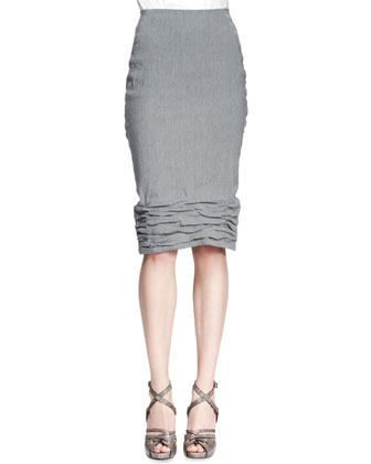Crush-Bottom Skirt, Gray