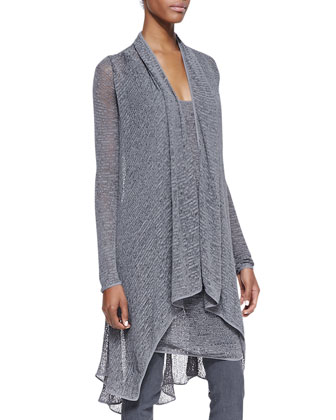Long-Sleeve Cozy Cardigan, Sleeveless Draped Cowl Tunic & Pull-On Pants ...