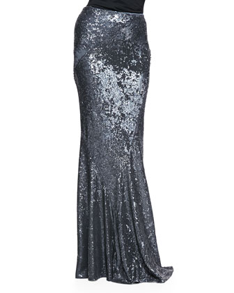 Sequined Floor Length Bias Skirt, Granite