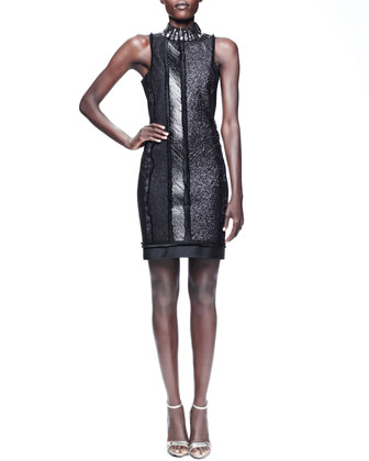 Beaded-Collar Paneled Sheath Dress, Black