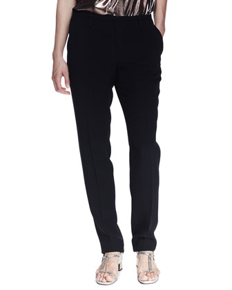 Grosgrain-Trim Pajama-Inspired Silk Pants