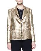 Matte Metallic Basketweave Jacket, Gold