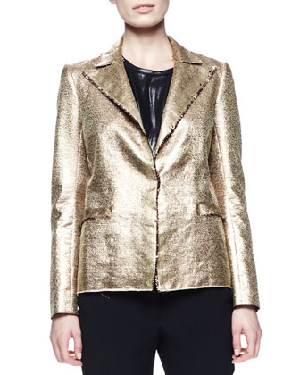 Matte Metallic Basketweave Jacket, Zip-Shoulder Shell & Grosgrain-Trim ...