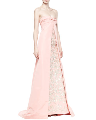 Strapless Cutaway Embroidered Gown