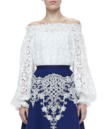 Off-the-Shoulder Lace Blouse, White