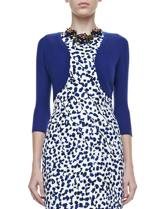 Cashmere-Silk Shrug & Sleeveless Printed Dress