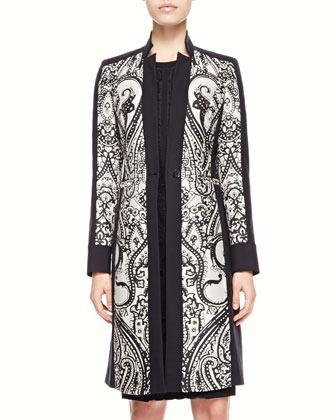 Scroll Paisley-Panel Coat & Lace-Applique Cap-Sleeve Dress