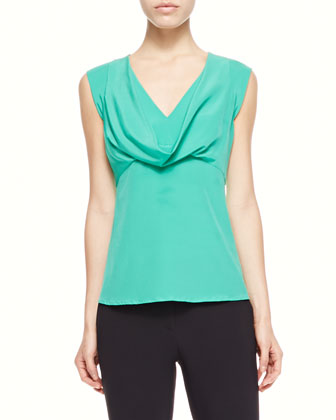 Cowl-Neck Silk Blouse, Green