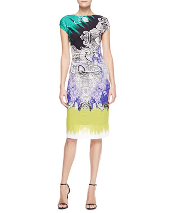 Cap-Sleeve Reptile Paisley Dress, Purple/Green/Multi