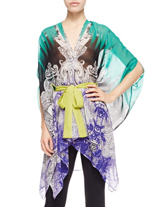 Long Belted Chiffon Poncho, Green/Purple