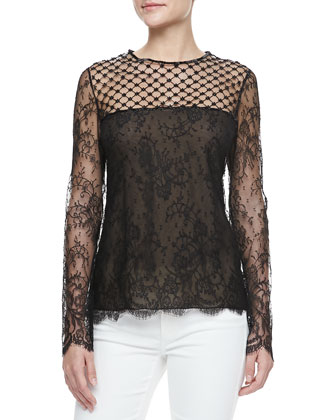 Long-Sleeve Lace-Inset Blouse, Black