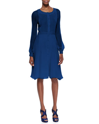 Long-Sleeve Plisse Shirtdress