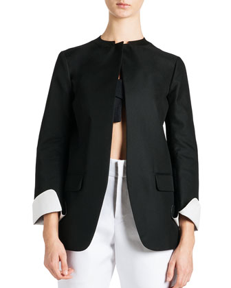 Tulip-Bottom Jacket, Canvas Bandeau Top & Cropped Satin Pants