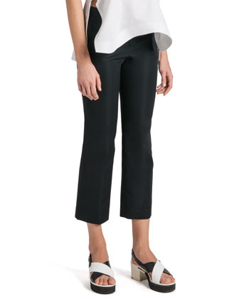 Stretch Satin Ankle Pants
