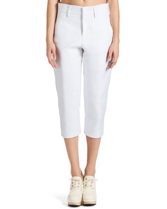 Cropped Stretch Satin Slim Pants