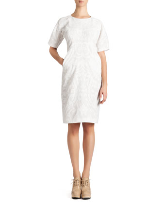 Short-Sleeve Cotton Jacquard Dress, White