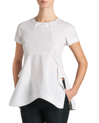 Seamed Side-Slit Taffeta Blouse