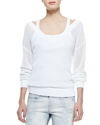 Crochet Knit Long-Sleeve Sweater, Teaser Cotton Tank Top & 400 Distressed ...
