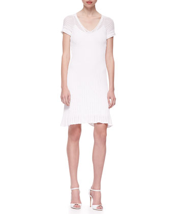 Short-Sleeve Engineered Mesh Knit Sheath Dress