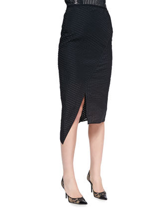 Multi-Panel Peplum Top & Mid-Length Asymmetric Wrap Skirt