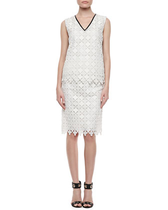 Vita Sleeveless Lace Shell Top & Aysha Lace Pencil Skirt