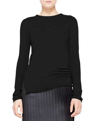 Long-Sleeve Cashmere-Silk Pullover