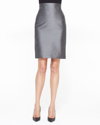 High Waist Pencil Skirt with Sheen, Black/White