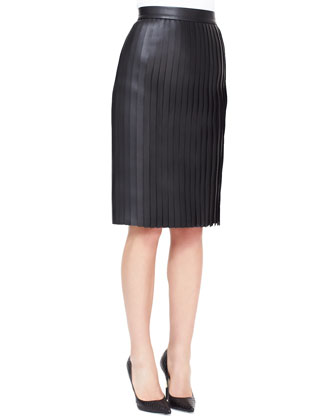 Long-Sleeve Cashmere-Silk Pullover & Accordion Pleated Leather Skirt
