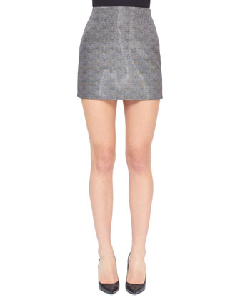 Printed Liquid Miniskirt, Tweed