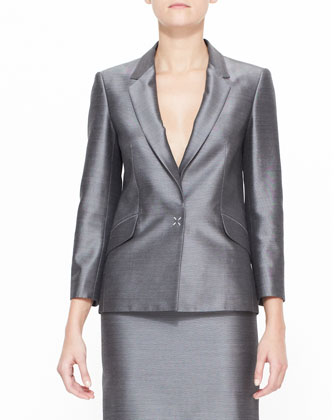 Suiting Blazer with Sheen, Black/White