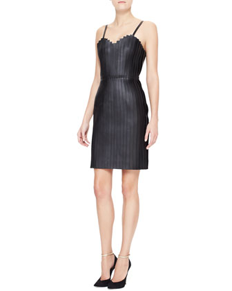 Accordion-Pleated Leather Dress, Black
