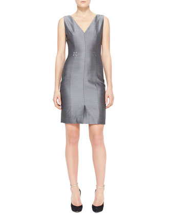 V-Neck Sleeveless Suiting Dress with Sharkskin Sheen