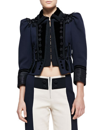 Embellished Fitted Military Jacket and Colorblock Zip Board Shorts