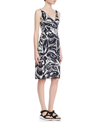Sleeveless V-Neck Sheath Dress, Navy