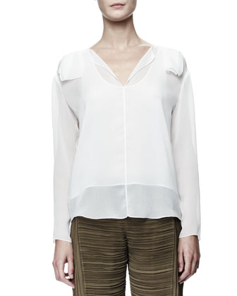 Long-Sleeve Georgette Blouse, White