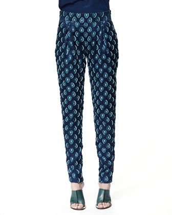 Medallion Jacquard Pants, Cyan