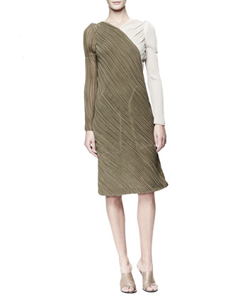 Long-Sleeve Asymmetric Georgette Dress, Khaki/Cream